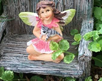 """Mini Micro Fairy """"Bella"""" with Cat Figurine, Fairy Garden Accessory, Garden Decor, Topper, Terrarium Accessory"""