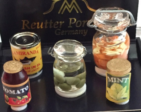 Miniature Canning Preserves Set by Reutter, Dollhouse Miniature, 1:12 Scale, Dollhouse Food, Miniature Food, Dollhouse Decor, Kitchen