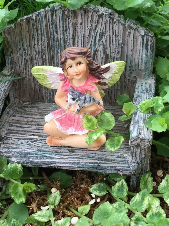 "Mini Micro Fairy ""Bella"" with Cat Figurine, Fairy Garden Accessory, Garden Decor, Topper, Terrarium Accessory"