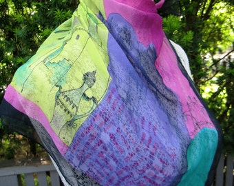 "Vintage Ellen Tracy ""Essaouira"" Sheer Scarf, Purple, Magenta, Lime Green & Black, 21"" Square"