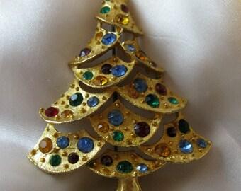 Vintage J.J. Christmas Tree Brooch with Multicolored Rhinestones on Openwork Goldtone