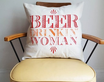 SALE Beer Pillow Cover 18 x 18 Square Washable Cotton Canvas Made in Nashville Under 20 Beer Joke Funny Gifts Home Decor