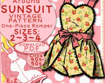 SUN SUIT Pattern 3 sizes So Sweet Wraparound One-Piece Romper Child Girl Toddler Vintage 1940 / 1950 Sunsuit baby e-pattern pdf