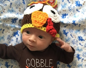 Turkey Baby Cap, Brown Beanie with Turkey Face, MADE TO ORDER, Fall Hat for Babies, Crochet Turkey