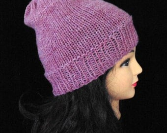 Dusky Pink Hat, Knitted Slouch Hat, Pink Knit Beanie, Wool Blend