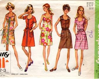 1970s Jiffy Shift Dress Pattern - Vintage Simplicity 8872 - Bust 40