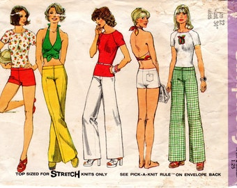 1970s Wrap Around Crop Top, Hip Hugger Pants or Shorts - Vintage Pattern Simplicity 6354 - Bust 34