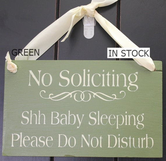 No Soliciting/Shh Baby Sleeping/ Please Do Not Disturb Sign/YOU Choose Color/Wood Sign/Outdoor Sign/Front Door Sign/Ready to Ship