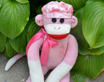 Breast Cancer Sock Monkey