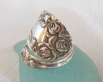 Spoon Ring  Antique Sterling Silver Roses Handmade size 7 and a half