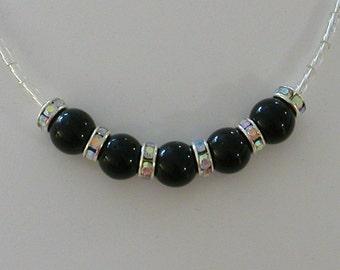 Minimalist Thank You Necklace Black Beads & Swarovski Crystals