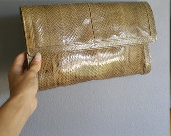 Vintage 70s TAUPE Snake Skin Clutch Purse