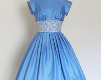 Sky Blue 100% silk twill prom dress with lace waist - Made by Dig For Victory