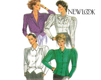 80s Steampunk Blouse Pattern New Look 6757 Size 8 - 18 Bust 31 1/2 - 40 inches UNCUT Factory Folds
