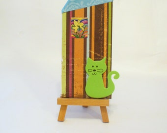 Crazy Cat Lady, Green Cat Tiny Home Collage, Vintage Style Altered Book Cover