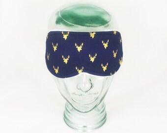 Sleep Mask Eye Mask Travel Mask Blindfold Deer Gold Navy Blue
