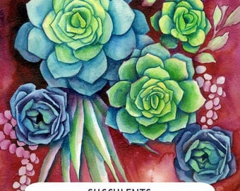 Adult Coloring Book, DIY Gift, DIY Watercolor Succulent Art, Adult Coloring Page, Beginners Painting Tutorial Coloring Sheet, Do It Yourself