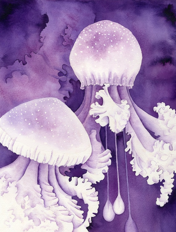 Jellyfish Art Painting Purple Jellyfish Watercolor Art Print