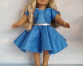 18 inch doll clothes - #319 Blue Sparkly Dress with Jacket Handmade to fit the American Girl doll - FREE SHIPPING