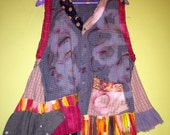 Cotton upcycled plaid vest with asymmetrical ruffles fits L XL 1x