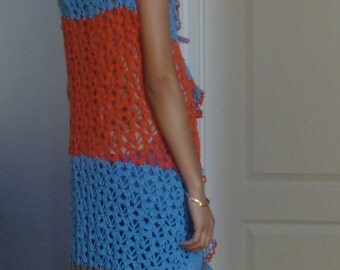 Multi color  Vest Duster Blue orange with ruffled collar and front ties cotton