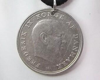 Denmark Coin Necklace, 1 Krone, Coin Pendant, Leather Cord, Men's Necklace, Women's Necklace, 1971