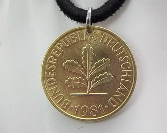 Oak Tree Coin Necklace, German 10 Pfennig, Coin Pendant, Leather Cord, Men's Necklace, Women's Necklace, 1981