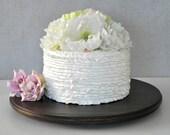 "18"" Wedding Cake Cupcake Stand Walnut Stain Rustic Wooden Grooms Cake Wedding Decor E. Isabella Designs Featured In Martha Stewart Weddings"
