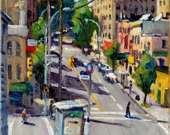From Bedford and Webster, The Bronx. Oil on Canvas, 8x10 NYC Impressionist Fine Art, Signed Original Realist New York City Landscape