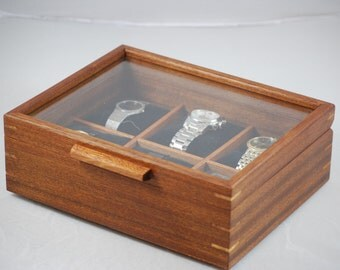Watch Box with glass top - Holds 6 watches - Sapele