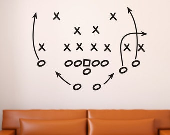 Football Vinyl Wall Decal - Football Wall Decal - Playbook Wall Decal - Football Vinyl Decal - Football Decal - Football Play Decal