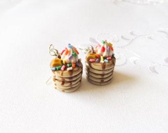 Sprinkle Pancake Earrings, Food Earrings, Polymer Clay, Cute Earrings, Charm Earrings, Food Jewelry, Pancakes, Sprinkles