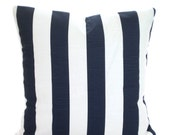 Navy Stripe Pillow Cover, Decorative Pillows, Cushion Covers, Navy Blue White Stripes Throw Pillow, Couch Bed Sofa Nautical Stripe ALL SIZES