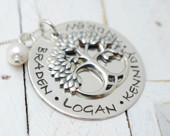 Personalized Sterling Silver Family Tree Necklace - Mother's Day Gift - Mommy Mom Grandma Nana Necklace - Handmade Stamped Metal Jewelry