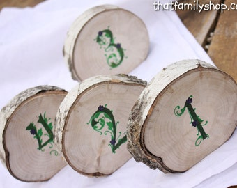 Irish Wedding Style Log Slice Table Numbers Decor for Rustic Reception Seating Display