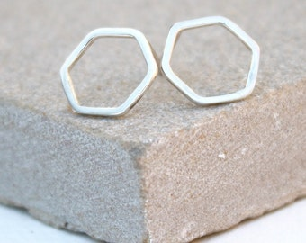 Sliver or Gold Hexagon stud earrings, hammered studs, delicate earrings, gift for her