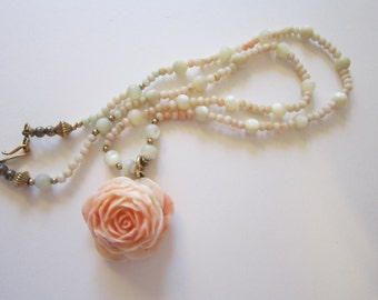 vintage necklace - MOP and pink coral beads with carved pink coral rose pendant - as is