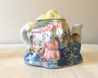 Ornamental teapot, vintage teapot, vintage tea pot, vintage ornament, vintage rabbit teapot, china teapot, miniature teapot, novelty teapot
