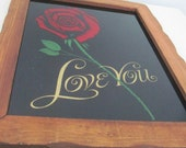 """Vintage Mid Century Framed Glass Wall Art """"  Love You"""""""