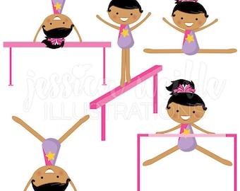 Tumblers V2 Cute Digital Clipart - Commercial Use OK- Girls Gymnastics Graphics, Gymnast, Gymnastics Clipart