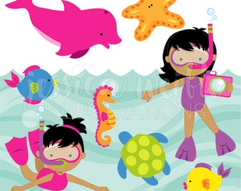 Snorkeling Fun Girls V2 Cute Digital Clipart for Card Design, Scrapbooking, and Web Design, Summer Swimming Clipart