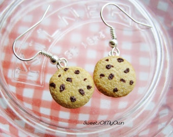 Chocolate Chip Cookie Dangle Earrings - Realistic Food Jewellery - Handmade with Polymer Clay