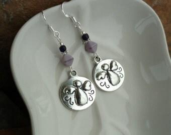 Purple Angel Earrings, Purple Angel Sterling Silver Earrings, Silver Angel Earrings, Purple Angel Sterling Silver Earrings