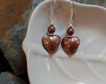 Copper Heart Sterling Silver Earrings, Copper Heart Silver Earrings, Copper Heart Sterling SIlver Earrings