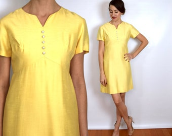 Vintage 60s Silk Party Dress | Yellow Shift Dress, Small