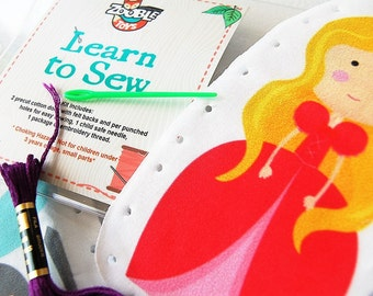Kids Sewing Kit - Kids Craft Kit - Learn To Sew Kit - Gift Idea - My First Sewing Kit - Prince and Princess DIY Christmas
