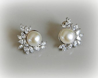 Crystal and Pearl Earring Studs, Cultured Freshwater Pearl Bridal Earrings, Wedding Jewelry, Ivory or Blush Champagne - MICAELA
