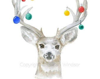 Christmas Deer Cards Set of 10 - Watercolor Christmas Card