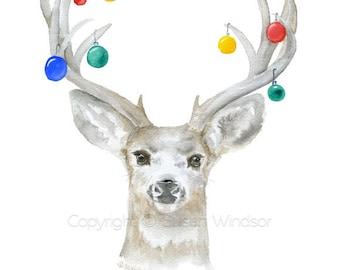 Christmas Deer Cards Set of 10 - Watercolor Christmas Card