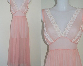 Vintage Peach Nightgown, Vintage Nightgown, Komar, Sheer Nightgown, Romantic, Wedding, Peach Nightgown, Peach Chiffon Nightgown, Nightgown